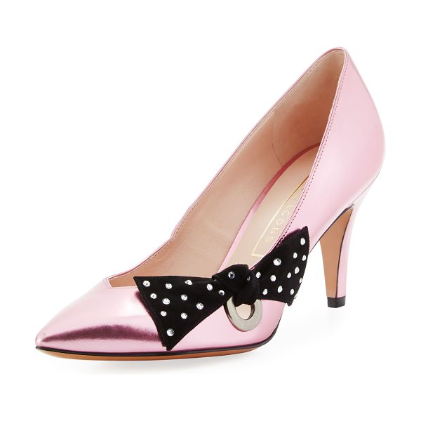 Marc Jacobs Daryl Metallic Bow Pump in pink - Marc Jacobs metallic leather pump with embellished bow...
