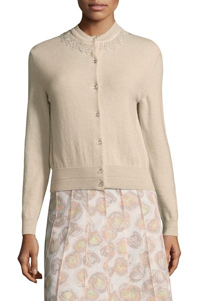 Marc Jacobs embellished wool & cashmere cardigan in oatmeal - Chic wool-blend cardigan featuring embellished collar....