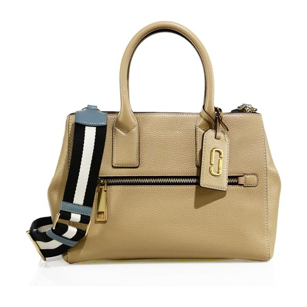 Marc Jacobs gotham leather satchel in sand - Pebbled leather satchel with striped guitar strap....