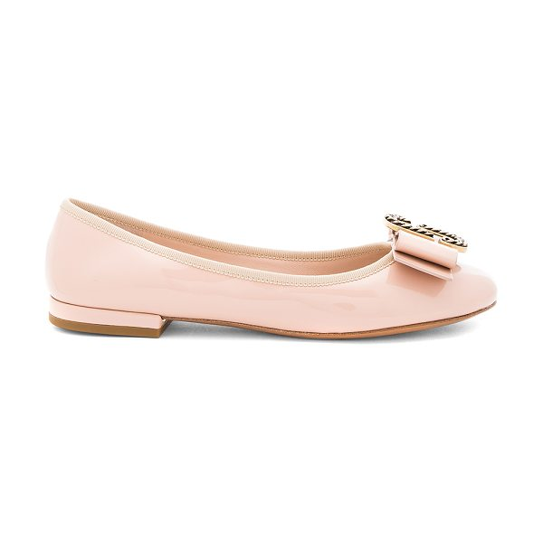 Marc Jacobs Interlock Round Toe Ballerina in blush - Patent leather upper with leather sole. Slip-on styling....