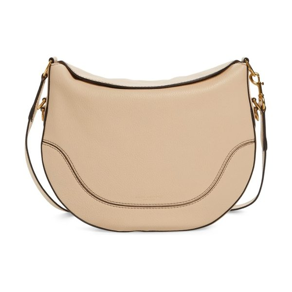 Marc Jacobs leather shoulder bag in buff - A magnetic fold-down top and a curved saddlebag-inspired...