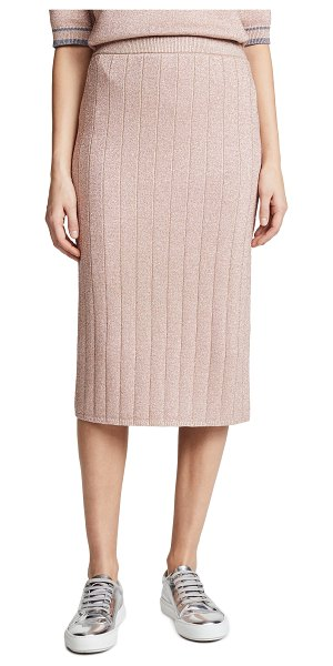 Marc Jacobs metallic pencil skirt in peach - Fabric: Metallic ribbed knit Silky charmeuse lining...