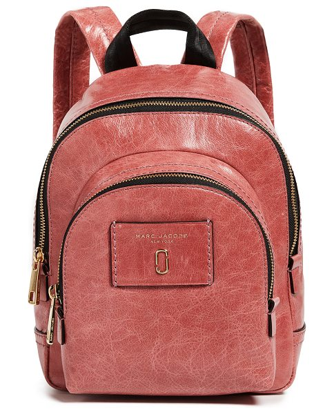 Marc Jacobs mini double backpack in pink - Leather: Cowhide Glossy finish Distressed Exposed zip at...