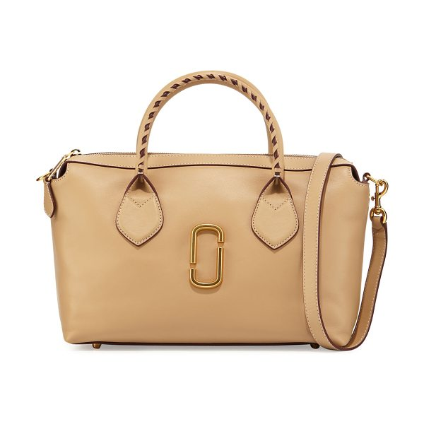 Marc Jacobs Noho Medium East-West Tote Bag in sand - Marc Jacobs smooth calfskin tote bag. Rolled top handles...