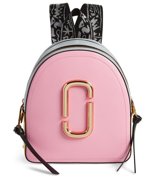 Marc Jacobs pack shot leather backpack in baby pink multi - Bold color-blocking and an oversized, gleaming double-J...