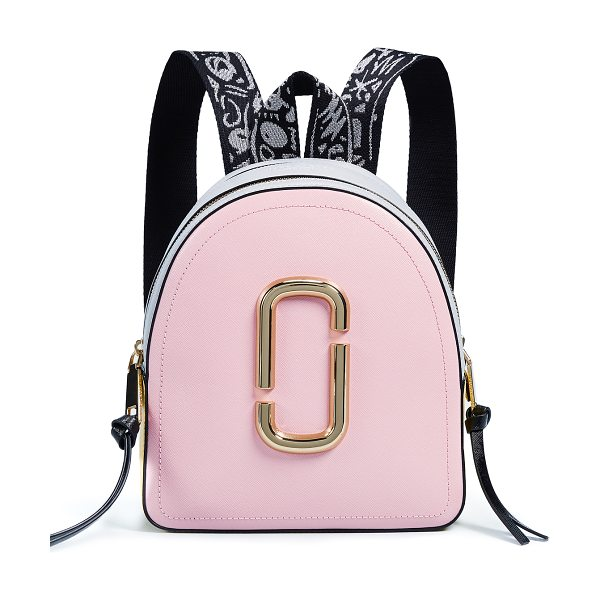 Marc Jacobs packshot backpack in baby pink - Leather: Cowhide Logo accent Saffiano leather Exposed...