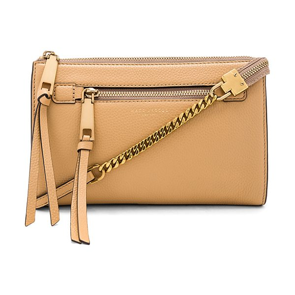 Marc Jacobs Recruit Small Crossbody in golden beige - Leather exterior with nylon fabric lining. Zip top...