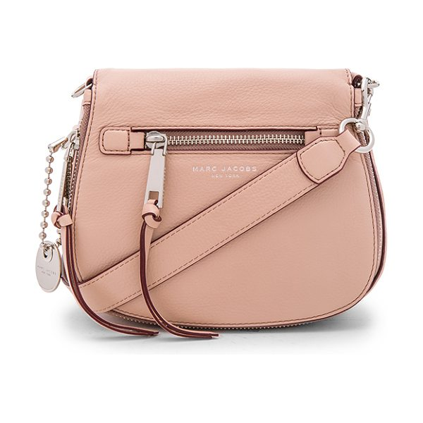 Marc Jacobs Recruit small saddle bag in blush - Leather exterior with nylon fabric lining. Flap top with...
