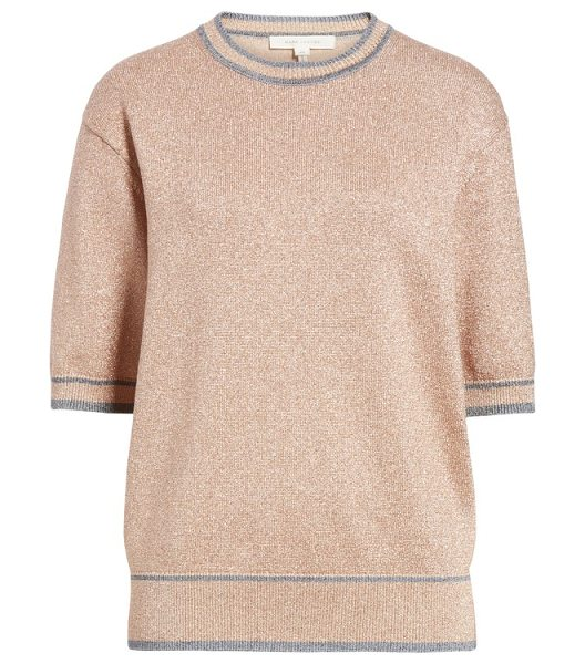 Marc Jacobs rib trim metallic sweater in peach - Ribbed varsity stripes ring around the edges of a...