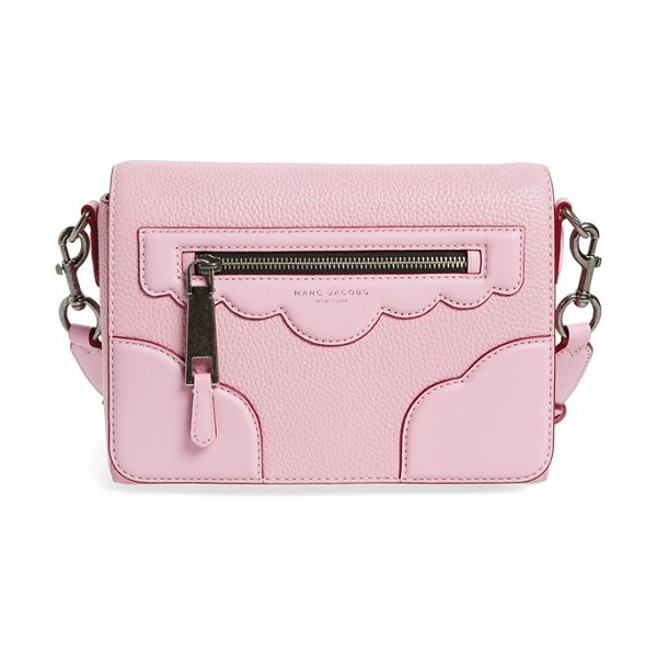 MARC JACOBS scallop detail leather crossbody bag in pink fleur - Scalloped detailing at the flap looks both retro and...
