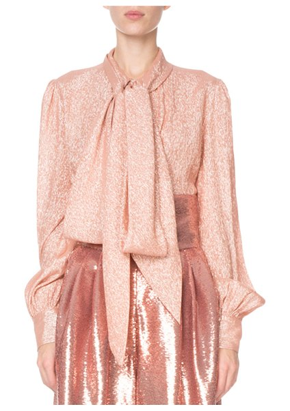 Marc Jacobs Shimmer Tie-Neck Blouse in peach - Marc Jacobs blouse in shimmery crepe. Self-tie collar....