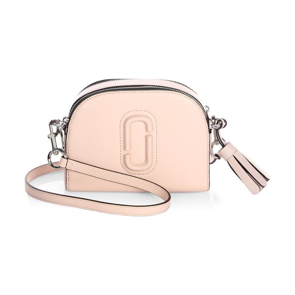 Marc Jacobs shutter leather crossbody bag in palepink - Dual-zip leather crossbody with tonal paperclip detail....