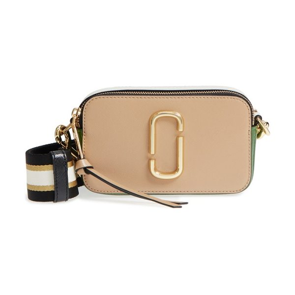 Marc Jacobs the snapshot leather crossbody bag in beige