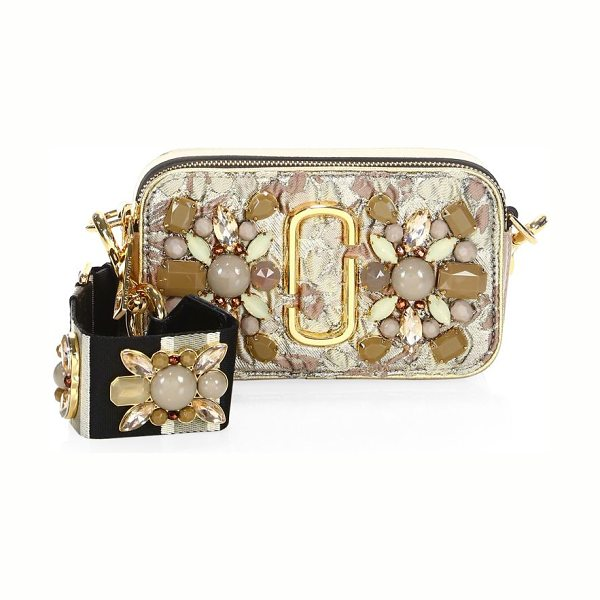 Marc Jacobs snapshot floral embellished camera bag in beige multi