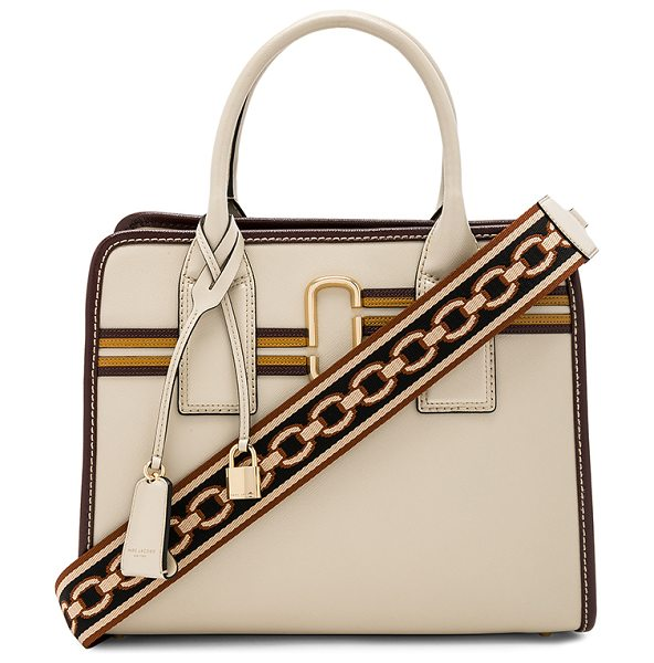 Marc Jacobs Striped Big Shot Bag in parchment multi - Leather exterior with nylon fabric lining. Dual open...
