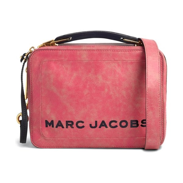 Marc Jacobs the box leather handbag in peony - Utilitarian styling goes glam with this distressed...