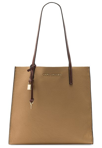 "Marc Jacobs The Grind Colorblocked Tote in tan - ""Leather exterior with nylon fabric lining. Open top...."
