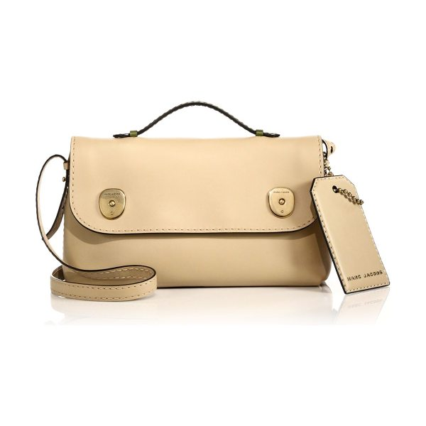 Marc Jacobs Topstitched top-handle satchel in sand-green