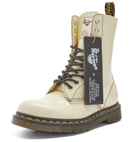 Marc Jacobs x Dr. Martens Patent Boots in beige
