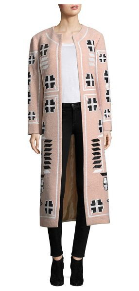 March 11 embroidered wool coat in beige - Long wool coat with decorative embroidery. Roundneck....