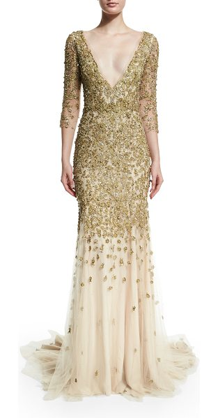 Marchesa 3/4-sleeve crystal-embellished gown in gold - Marchesa crystal-embroidered gown. Plunging V neckline....