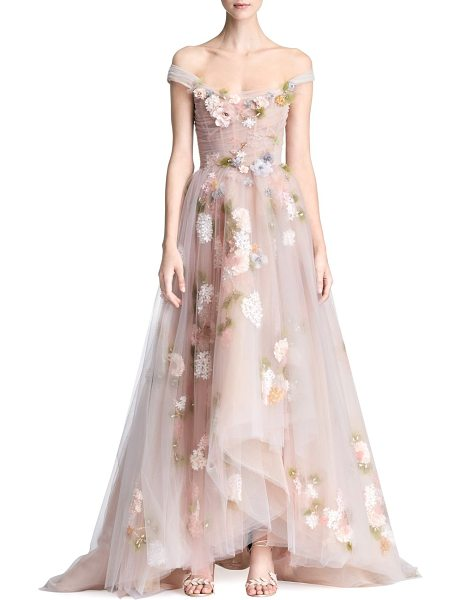 Marchesa a-line floral gown in blush - Beaded florals adorn layers of tulle on ethereal ball...