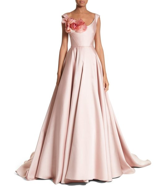 Marchesa corsage off the shoulder satin ballgown in blush - A lush bouquet blooms at the scooped neckline of this...