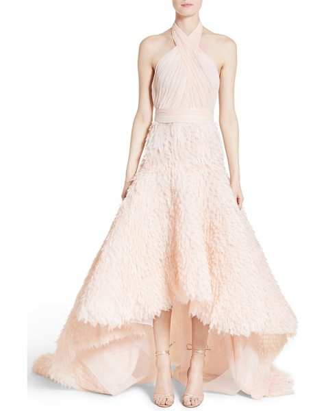 Marchesa draped bodice crepe halter gown in blush - Deftly ruched panels crisscross the bust and wrap the...