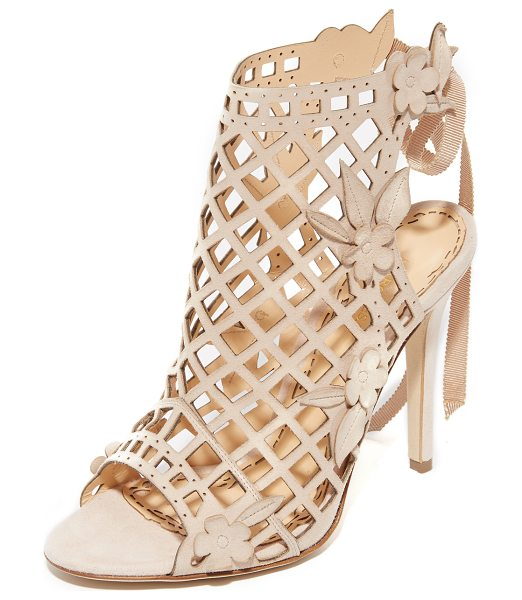 MARCHESA Edith cutout sandals in nude - Tonal floral appliqués soften the edgy feel of these...