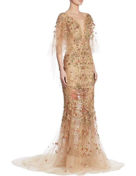 Marchesa embellished cape gown in nude - .Gorgeous embellished cape gown in a semi-sheer design....