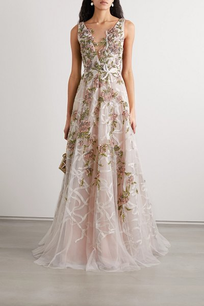 Marchesa embellished embroidered tulle gown in blush