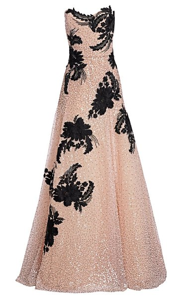 Marchesa embellished strapless tulle gown in blush