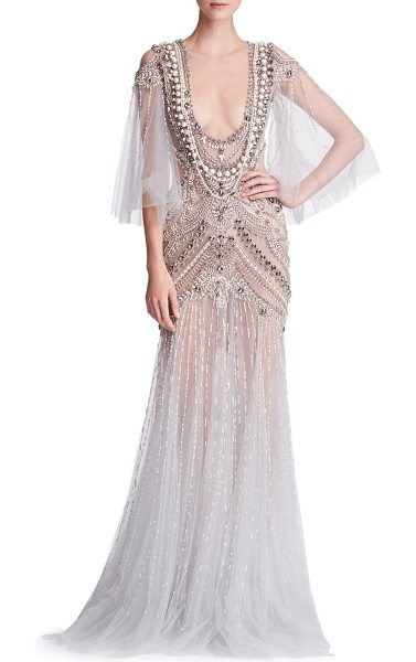 MARCHESA embellished tulle gown - Art Deco-inspired beading adds glam to tulle gown. Plunging...