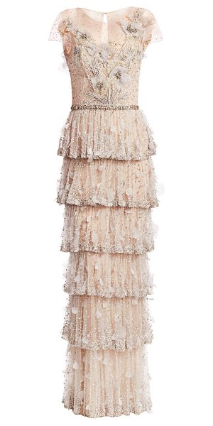 Marchesa embellished tulle tiered gown in oyster