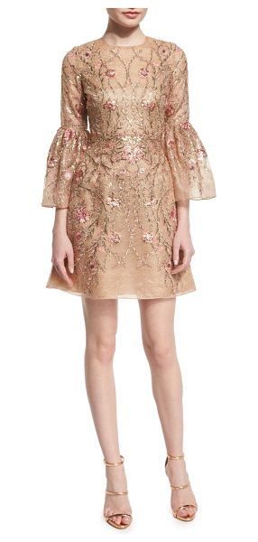 Marchesa Embroidered bell-sleeve cocktail dress in nude - Marchesa floral-embroidered organza dress. Jewel...