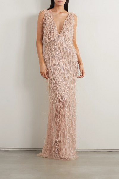 Marchesa feather-trimmed embellished tulle gown in rose gold