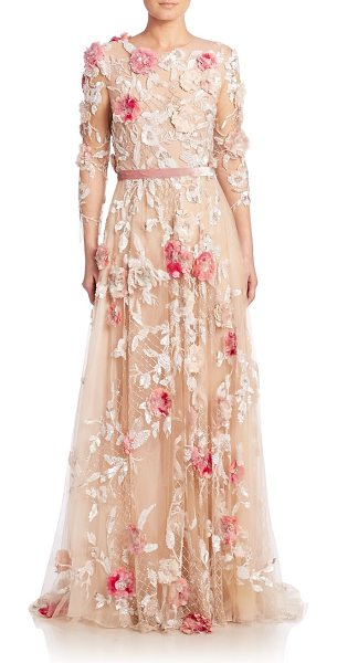 Marchesa Floral applique tulle gown in nude-pinkmulti - EXCLUSIVELY AT SAKS FIFTH AVENUE. Romantic floral...