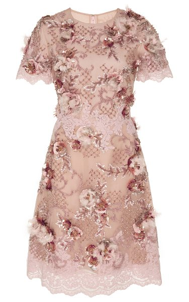 Marchesa Floral Embellished Cocktail Dress in pink - This *Marchesa* dress features a rounded neckline beaded...