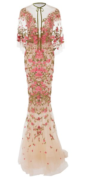 Marchesa Floral Embroidered Dress With Capelet in pink - Rendered in silk this *Marchesa* gown features an...