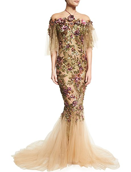Marchesa Floral-Embroidered Halter Mermaid Gown in neutral pattern - Marchesa tulle gown with sequined and crystal floral...
