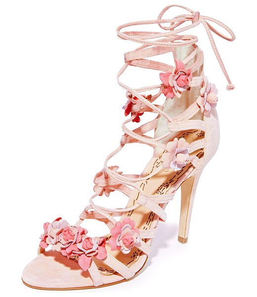 MARCHESA gianna caged sandals - Intricately-detailed floral appliqués accent these suede...