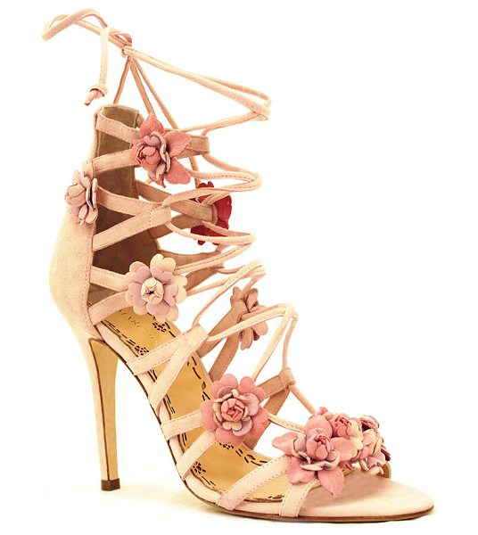 Marchesa Gianna Floral Sandal in pink - This *Marchesa* sandal is rendered in suede and features...