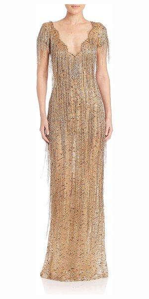 Marchesa gold beaded fringe gown in gold - Metallic lace gown, with incredible fringed beading....
