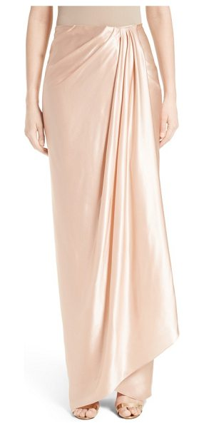 Marchesa grecian draped satin georgette wrap skirt in blush pink - Precise draping creates elegant flow for a long, slim...