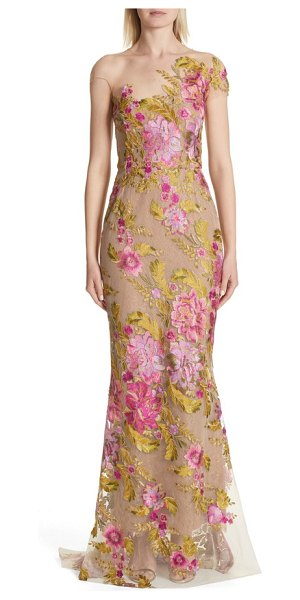 Marchesa illusion multicolor column gown in beige - Lavish metallic blooms blanket this shapely illusion...