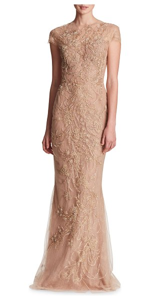 MARCHESA Illusion-Neck Beaded Embroidered Top with Layered Tulle Skirt Evening Gown in gold - Marchesa evening gown with metallic-embroidered bodice...