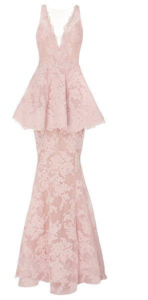 Marchesa Lace Peplum Gown in pink - This *Marchesa* gown features a plunging V neckline a...