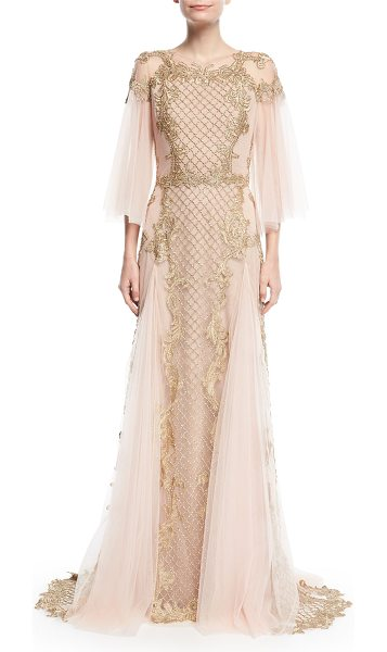 Marchesa Metallic Embroidered Tulle-Sleeve Gown in pink metallic - Marchesa gown with metallic baroque embroidery. Illusion...