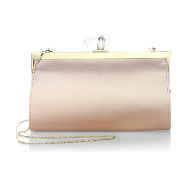Marchesa nina satin clutch in nude - Satin clutch featuring a faceted accent at top. Metallic...