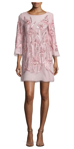 Notte by Marchesa 3/4-Sleeve Beaded Floral Cocktail Dress in blush